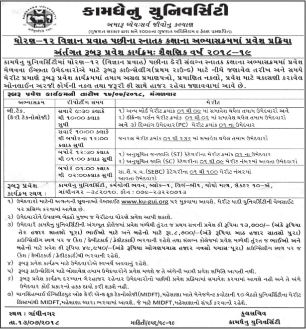 Kamdhenu University Merit List
